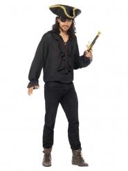 Luxe zwarte piraten blouse voor mannen