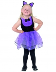 Kleine paarse kat outfit voor meisjes