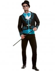 Turquoise Dia de los Muertos kostuum voor mannen