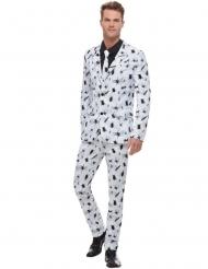 Wit kostuum met zwarte spin opdruk voor mannen