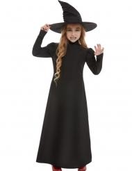 Effen zwarte heksen outfit voor meisjes
