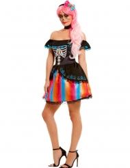 Veelkleurig Dia de los Muertos kostuum voor dames