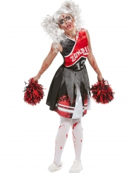 Driekleurig zombie cheerleader kostuum voor vrouwen