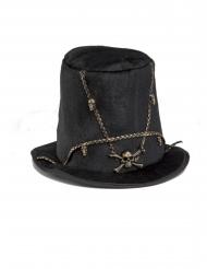 Doodskop en kettingen hoge hoed voor volwassenen