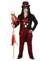 Rood en zwart voodoo priester kostuum voor mannen