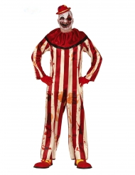 Rood en wit horror clown kostuum voor mannen