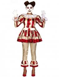 Rood en wit gruwelijke horror clown kostuum voor vrouwen