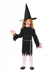 Zwarte heks outfit met hoed voor meisjes
