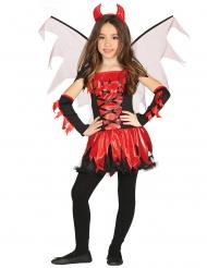 Rood en zwarte duivel kostuum met vleugels voor meisjes