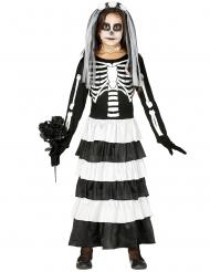 Zwart en wit skelet bruid kostuum voor meisjes