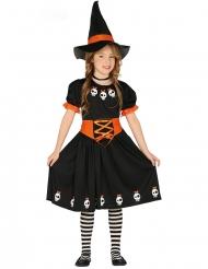 Zwart en oranje kleine heks kostuum voor meisjes