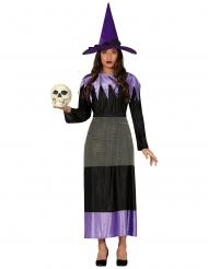 Zwart en lila heks kostuum met hoed voor vrouwen