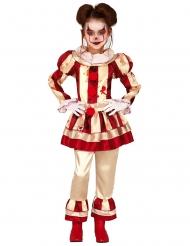 Angstaanjagend rood en wit clown kostuum voor meisjes