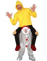 Op de rug van een killer clown kostuum voor volwassenen