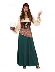 Groen en beige waarzegster kostuum voor vrouwen