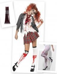 Zombie schoolmeisje kostuum pack en accessoires voor vrouwen