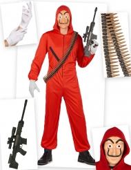 Compleet rood overvaller kostuum pack voor volwassenen