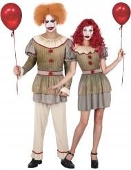 Psychopaat clown koppelkostuum voor volwassenen