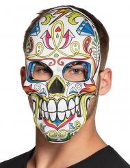 Wit Dia de los Muertos skelet masker