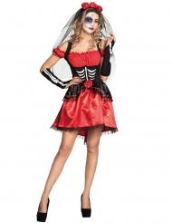 Rode en zwarte Dia de los Muertos outfit voor dames