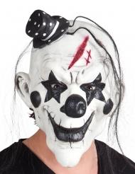 Zwart en wit latex psychopaat masker met haren