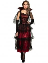 Rood en zwart elegant vampier kostuum voor vrouwen