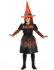 Oranje en zwart gestreept heks kostuum voor meisjes