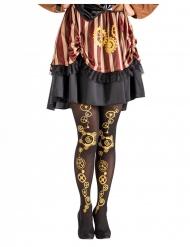 Zwarte steampunk panty voor vrouwen