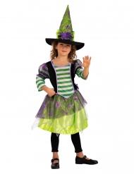 Spinnen heks kostuum met groene hoed voor meisjes