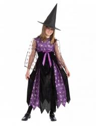 Zwart en paars heks kostuum met spinnen voor meisjes