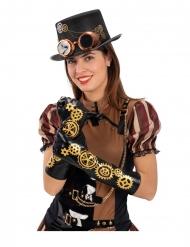 Zwarte steampunk tandwielen handschoenen voor volwassenen