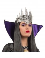 Glanzende zilverkleurige koningin kroon voor volwassenen