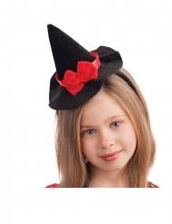 Zwarte mini heksenhoed haarband met strikje