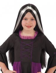 Zwarte pruik met witte plukken voor kinderen