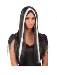 Lange zwarte en witte pruik voor volwassenen