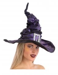 Paarse geplooide heksen hoed met gesp voor volwassenen