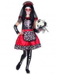 Zwarte en rode Dia de los Muertos skelet outfit voor kinderen