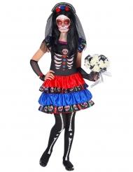 Rood en blauw Dia de los Muertos kostuum voor kinderen