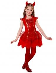 Rode duivel jurk met haarband voor meisjes