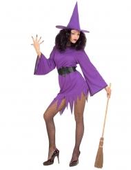 Sexy kort paars heksen kostuum voor vrouwen