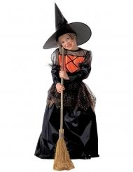 Elegant zwart en oranje heks kostuum voor kinderen