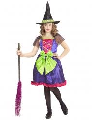 Gekleurd glanzend heksen kostuum voor kinderen