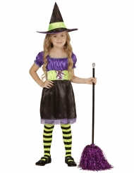 Zwart paars en geel heks kostuum voor kinderen