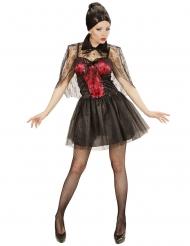 Sexy rode met zwarte vampier jurk voor vrouwen