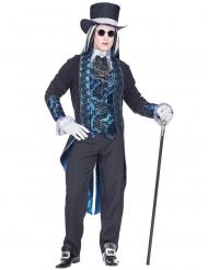 Blauw Victoriaans vampier kostuum voor mannen