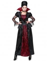 Elegant bordeaux rood en zwart vampier kostuum voor vrouwen