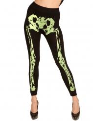 Fluo groene skelet legging voor vrouwen