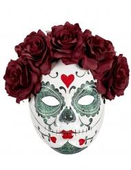 Dia de los Muertos masker met rode rozen voor volwassenen