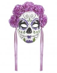 Paars Dia de los Muertos masker met linten voor volwassenen