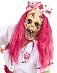 Zombie verpleegster masker met roze haren